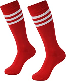 Soccer Socks, SUTTOS Unisex Cotton Knee High Triple Stripe Football Team Socks Athletic Tube Sock 2-10 Pairs
