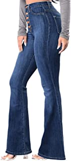 2018 Sale Bootcut Jeans Women,Winter Print Flowy High Waist Long Denim Flare Pants by-NEWONESUN