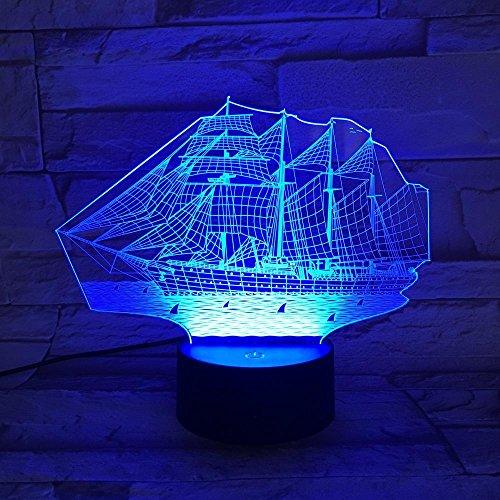 Lozse Changement de couleur 7 lampe Illusion 3D voile contact interrupteur tableau LED lampe acrylique Vision lumière veilleuse