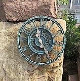 Reloj de pared para exteriores de estilo retro, resistente a la intemperie, para el baño, grande, vintage, decorativo, sin tic-tac, moderno reloj