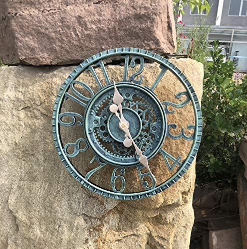 Outdoor Grosse Retro Gartenuhr Wetterfest, Badezimmeruhr Groß Vintage Dekorativ Ornament Wanduhr mit ohne TickgeräUsche Moderne Uhr