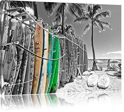 puissant Planche de surf de plage colorée noir et blanc Format: 80 × 60 sur toile, immense photo XXL…