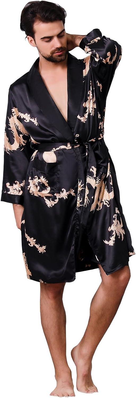 BridalAffair Mens Satin Robe Silk Indefinitely Bathr Kimono Long Great interest Sleeve House