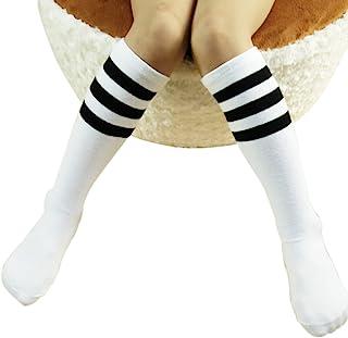 iSpchen, ZUMUii - Calcetines Largos Unisex de algodón con diseño de Mariposas, para niños y niñas, para niños de 1 a 3 años de Edad Blanco Blanco y Negro a Rayas. M for 4-15 Years