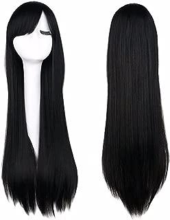 iLoveCos Women's Black Long Wig Cosplay Halloween Costume Wigs 32 inch
