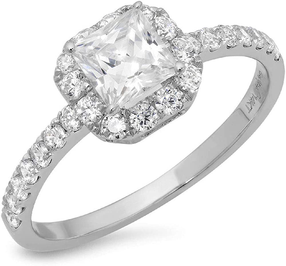 1.40 CT Princess Cut Simulated Diamond CZ Pave Halo Bridal Engagement Promise band Ring 14k White Gold