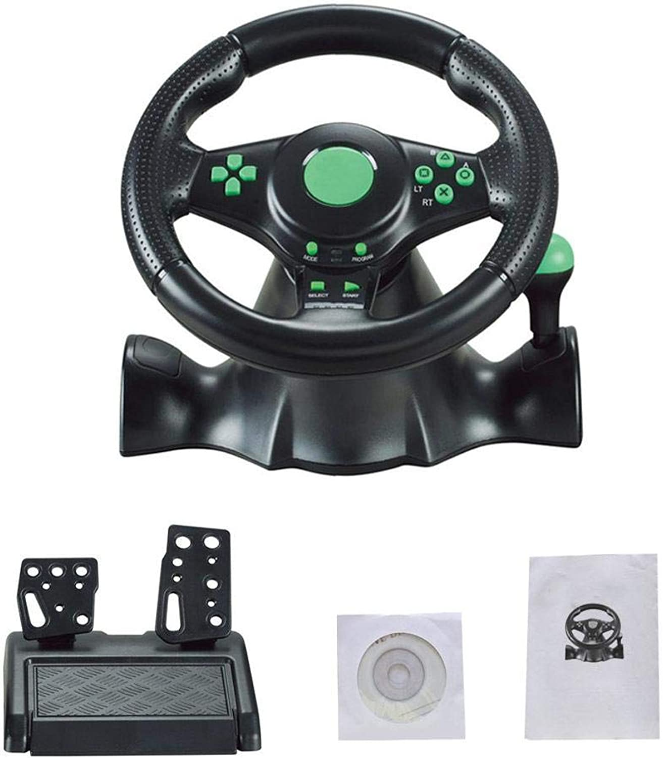 FT22 Racing Wheel, 180 Degree Racing Steering Computer Game Steering Wheel with Responsive Pedals Simulation Racing Driving Toy for PC PS3 PS4 XBOX-ONE