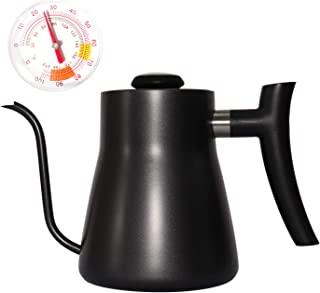 Gooseneck Coffee Kettle Pour Over Kettle with Thermometer, Kslong Hand Drip Coffee Pot 750ml/25oz Black Stainless Steel Pot