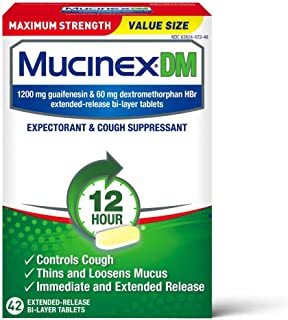 Cough Suppressant and Expectorant, Mucinex DM Maximum Strength 12 Hour Tablets, 42ct, 1200 mg Guaifenesin, Relieves Chest ...