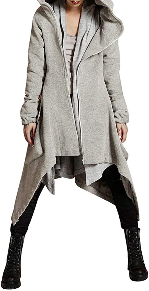 Swyss Womens Casual Hoodie Zipper Asymmetric Solid Quilted Coat,Winter Warm Overcoat (M, Gray)