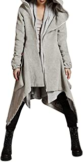 Winter Hooded Coat for Womens Plus Size Casual Solid Zipper Asymmetric Overcoat Long Coat