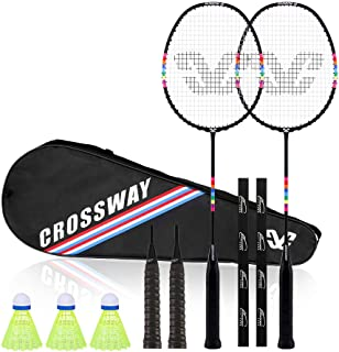 Crossway Sports 2 Player Badminton Rackets Carbon Fiber Composite Including Carry Bag and Grip Tapes(Black)