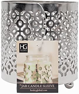 Hosley Metal Jar Candle Sleeves/Holders - Your Choice of Colors and Designs (Silver - Geometric)