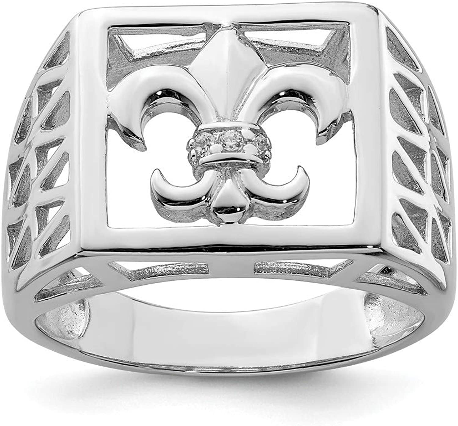 Beautiful Sterling silver 925 sterling Sterling Silver Rhodium Plated CZ Fleur de lis Ring