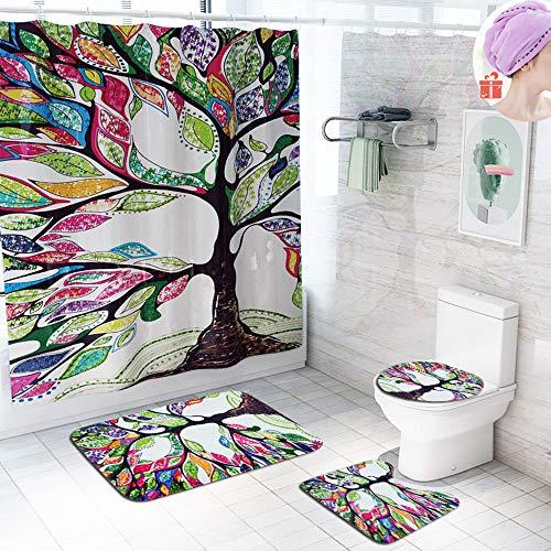Enhome Badteppich Set 4teilig, Badezimmermatten Set mit Duschvorhang + rutschfeste U-Sockelteppich, Toilettenabdeung & Badematte Graffiti-Baum Muster (Mehrfarbig)