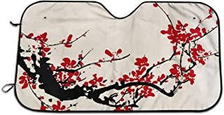 TianHeYue Ancient Artistic Cherry Blossom Car Windshield Sun Shade Universal Fit Car Sunshade-Keep Your Vehicle Cool UV Sun and Heat Reflector
