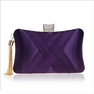 DIEBELLAU Imitation Silk Evening Bag Ladies Banquet Bag Evening Dress Bag (Color : Purple, Size : XS)
