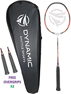 Dynamic Shuttle Sports Ares Red 68 Premium Carbon Fiber Indoor/Outdoor Professional Badminton Racket with Cover - for Both Offensive and Defensive Players, Good for All Levels…