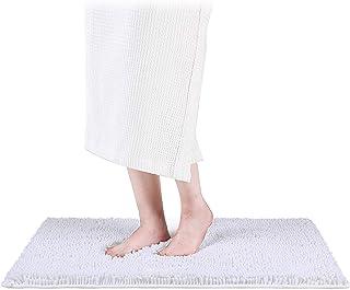 Smiry ラグジュアリー シェニール織 バスラグ エクストラソフト 吸収性 シャギーバスルームマットラグ 洗濯機洗い可 滑り止め プラッシュカーペットランナー 浴槽 シャワー バスルーム用 17'' x 24'' ホワイト