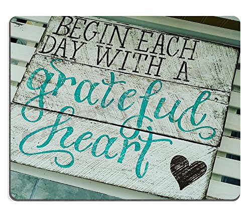 Wknoon Gaming Mouse Pad Custom, Begin Each Day with A Grateful Heart Quotes Rustic Turquoise Wood Design, Inspirational Bible Verse Scripture Quote Mouse Pads