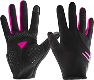 LIUFULING Unisex Cycling Gloves Bike Bicycle Gloves - Breathable Pad Shock-Absorbing Anti-Slip - Touch Recognition Full Finger Gloves for Men/Women (Pair) (Color : Pink, Size : M)