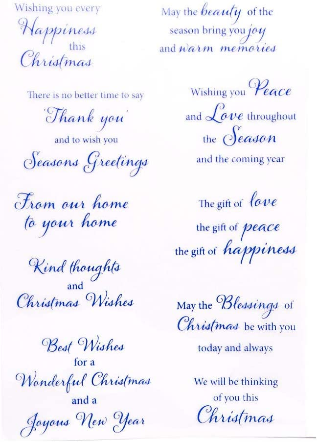 Merry Christmas Happy New Year Happy Birthday Verses Phrase Rubber Stamps Clear Stamps for CHRISTMAS Card Making Decoration and DIY Scrapbooking Rubber Stamps for Crafts
