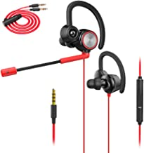 Wired Gaming Earphone with Adjustable Mic, XIAOKOA Earphones with microphone for Laptop Computer Cellphone, E-sport Earburds, Online Hands-free Calling