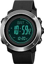SKMEI Mens Digital Sports Watch, Military Waterproof Watches Compass Stopwatch Pedometer Wristwatch for Men
