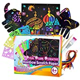 ZMLM Scratch Paper Art Set for Kids - 107 Pcs Rainbow Magic Scratch Off Arts and Crafts Supplies Kits Sheet Pack for Children Girls Boys Birthday Game Party Favor