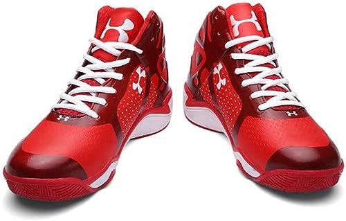 Basketball Chaussures Homme en Cuir Synthétique 3D Mode Soulagement De Sport Résistant à l'usure Non Slip baskets,rouge,42