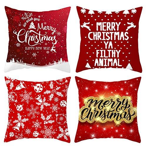 IWILCS 4 Piezas de Fundas de Almohada de Navidad, Funda de cojín Decorativa de Navidad, Funda de cojín de sofá...