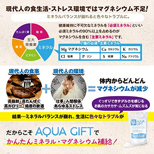 入浴剤バスソルトAQUAGIFT国産マグネシウム保湿浴用化粧品30回分計量スプーン付