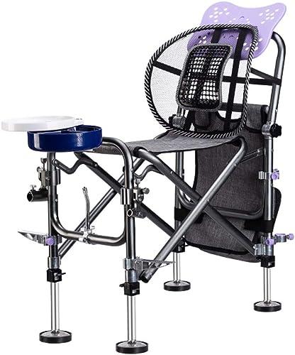 Chaise De Pêche Pliante Multifonction Pêche Tout-Terrain Chaise épaissi Portable Amélioré Renforcement Pièces Charge 130kg (Couleur   noir, Taille   G)