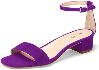 ec931eda403 XYD Women Open Toe Strappy Low Block Heel Sandal Pumps Ankle Strap Wedding  Dress Shoes