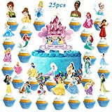 25pcs Disne_y Princess Cake Toppers Princess Cupcake Topper for Girls Happy Birthday Party Decorations Supplies