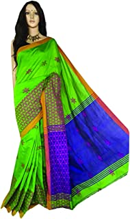 Green Indian Cotton Silk Handloom Sari With Bllouse Piece Flower work at border Festive Party Wear Bengali Fashion 919