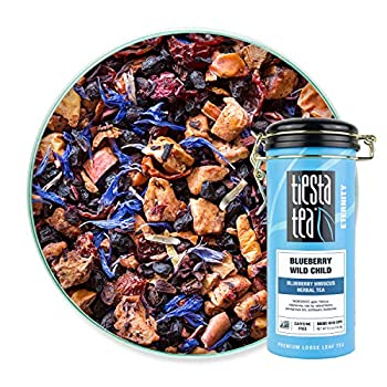 Tiesta Tea - Blueberry Wild Child Loose Leaf Blueberry Hibiscus Herbal Tea Non-Caffeinated Hot & Iced Tea 5.5 oz Tin - 50 Cups Natural Flavors Herbal Tea Loose Leaf Blend