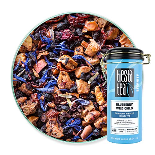 Tiesta Tea | Blueberry Wild Child, Loose Leaf Blueberry Hibiscus Fruit Tea | All Natural, Caffeine Free, Hot or Iced, Antioxidant Boost | 5.5oz Tea Tin Canister - 50 Cups | Blueberry Hibiscus Tea