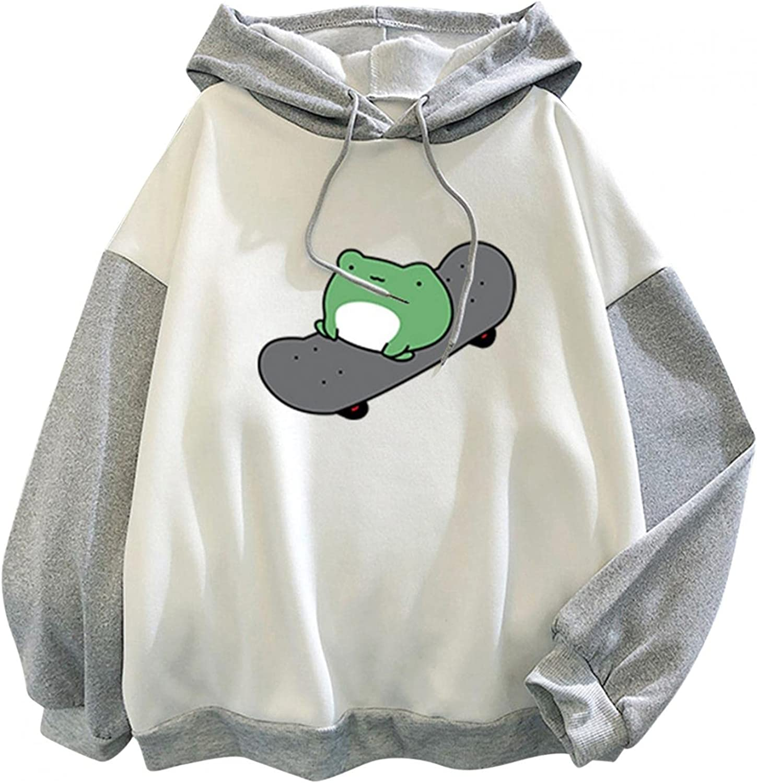 BAGELISE Womens Hoodies Pullover,Women Oversized Sweatshirts Cute Frog Sweatshirt for Teen Girls Drawstring Hoodies