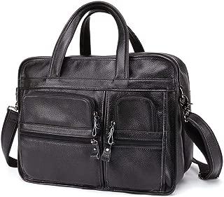 Genuine Leather Bags Men Briefcase Fashion Business Men Laptop Tote Bag Leather for 14 Inch Laptop (Color : Black)