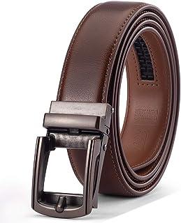 حزام جلد طبيعي للرجال، حزام فستان مصمم مع مشبك نقرة وصندوق هدايا أنيق، إكسسوارات رجالية أساسية
