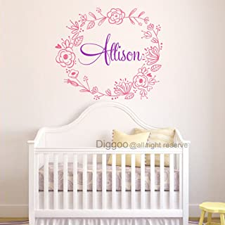 Personalized Flower Wreath Girls Name Decal Baby Girl Floral Nursery Wall Art Children Room Decor (16