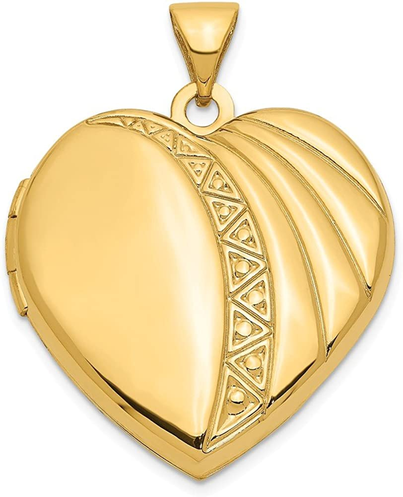 14k Yellow Gold 21mm Heart Photo Pendant Charm Locket Chain Necklace That Holds Pictures Fine Jewelry For Women Gifts For Her
