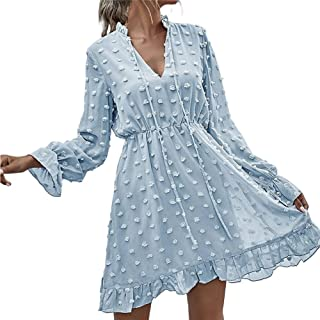 Women's Long-Sleeved Dress V Neck Ruffle Flared SleevesStretchy Swing Cocktail Party Mini Dress