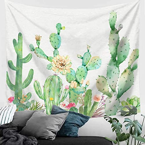 Cactus Tepastry For Wall Decor   Wall Hangings Pink And Yellow Tapestry  White Watercolor Cactus Wall