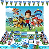 Nidezon Paw Patro Party Supplies Birthday Decorations Party Favors 160 Pieces for 10 Guests with Paw Patrol Backdrop,Cups, Plates, Invitations, Birthday Banner