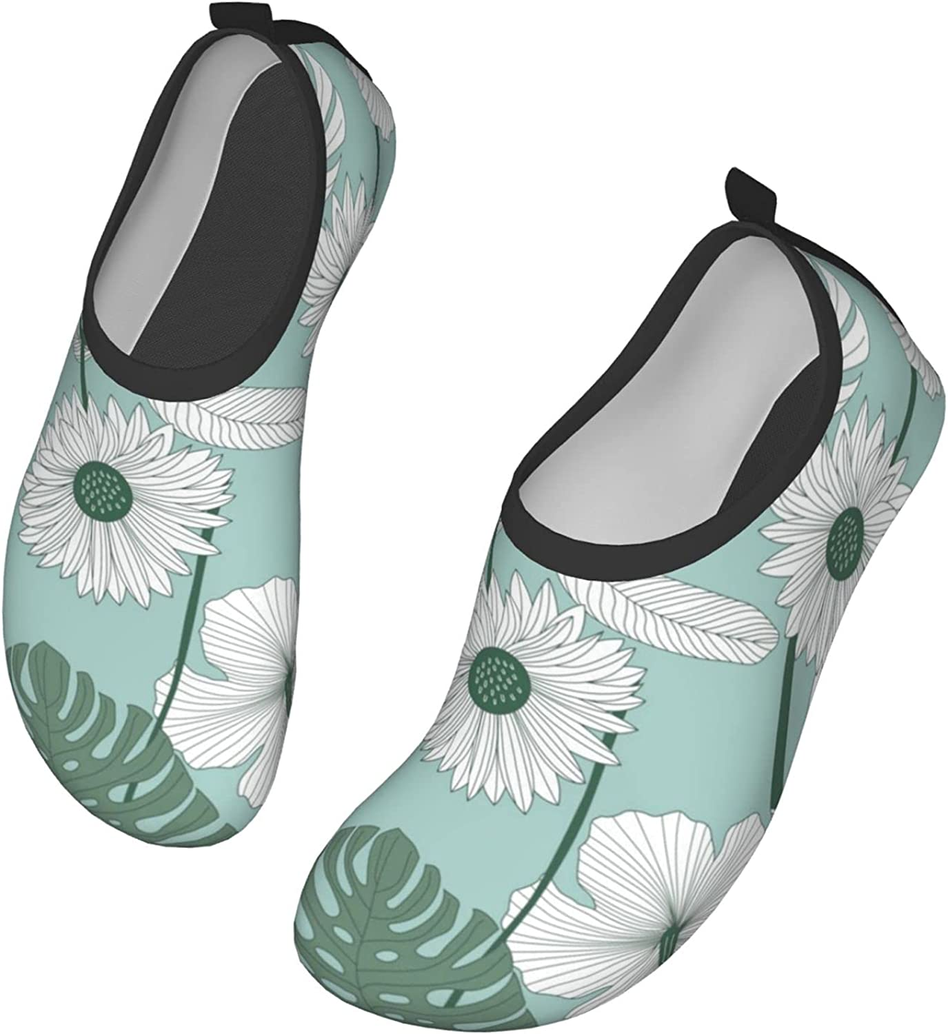 Tropical Floral with Leaves. Water Shoes Quick Dry Swim Aqua Barefoot Socks for Women Mens Sports Walking Yoga Water Shoes