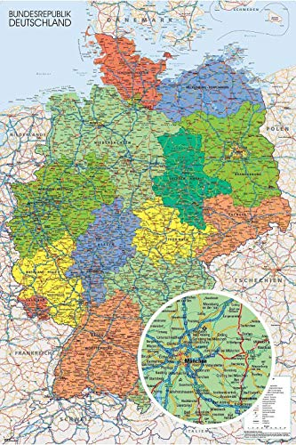 Close Up Póster Mapa Político de Alemania - Deutschland Landkarte (61cm x 91,5cm) + Embalaje para Regalo