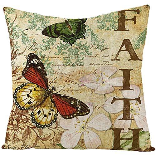 Socoz Funda de almohada colorida, ropa de mariposas y flores, color verde, marrón claro