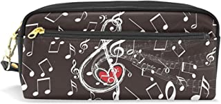 ALAZA Music Note Love Heart Pencil Case Zipper PU Leather Pen Bag Cosmetic Makeup Bag Pen Stationery Pouch Bag Large Capacity